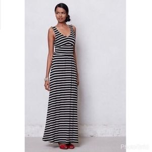 Anthropologie Puella Black Stripe Knit Maxi Dress